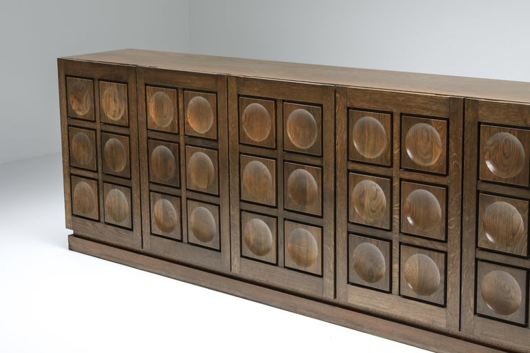 Graphical Sideboard in Oak, Belgium, 1970s For Sale 2