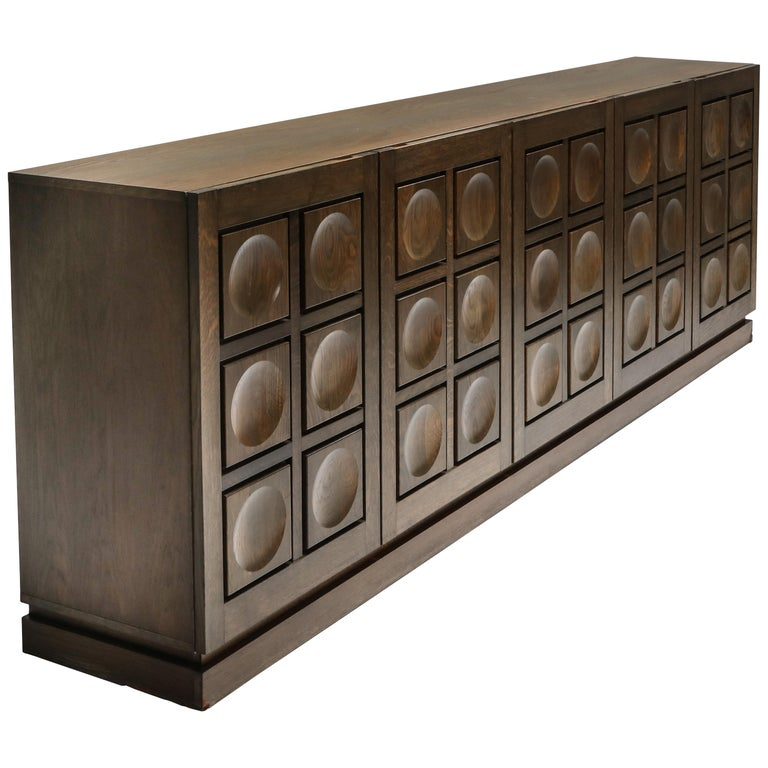 Graphical Sideboard in Oak, Belgium, 1970s For Sale