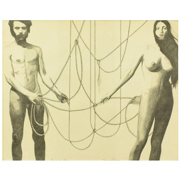"Graphite Drawing Of Nude Male & Female ""Skrebneski Entangled"""