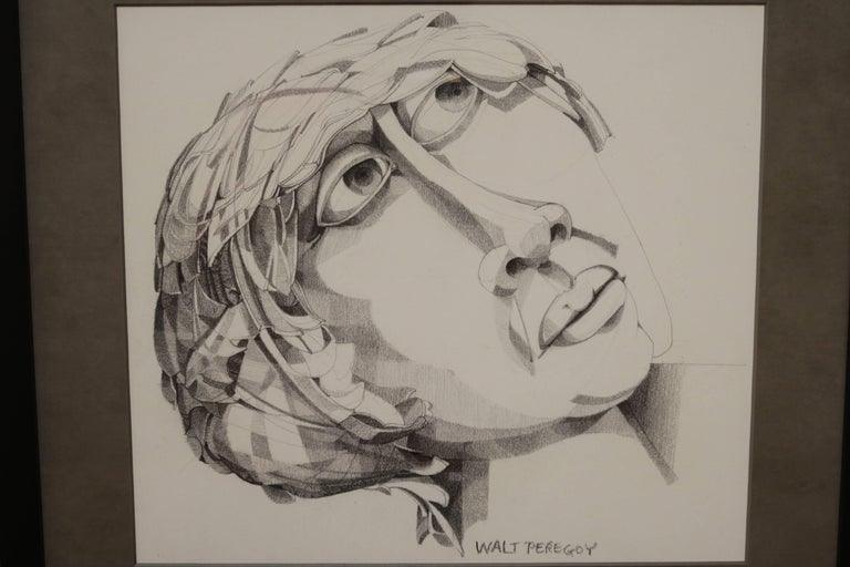 Illustrated portrait of a woman in graphite by Walter Peregoy. A perfect of drawing strokes, Walter Peregoy (1925-2015) was an American artist acclaimed for his Avant Garde style. He is also known for his work at Disney, Hanna-Barbera and Format
