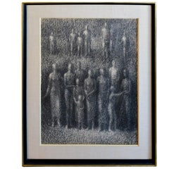 Graphite Sketch by California Artist Stevan Kissel, 'the Witnesses', circa 1965