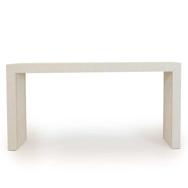 Modern Grasscloth Parson's Table For Sale
