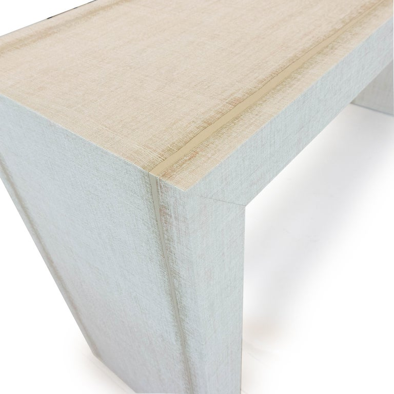 Contemporary Grasscloth Parson's Table For Sale