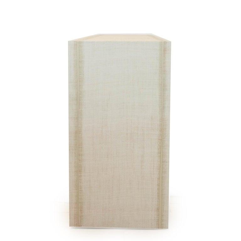 Grasscloth Parson's Table For Sale 3