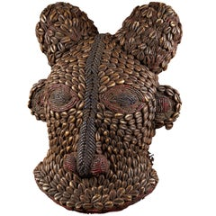 Grassland People, Cameroon, Beaded Dancing Group Mask, Ram Covered with Kauris