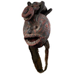 Grassland People, Cameroon, Beaded Head with Leopard Mount