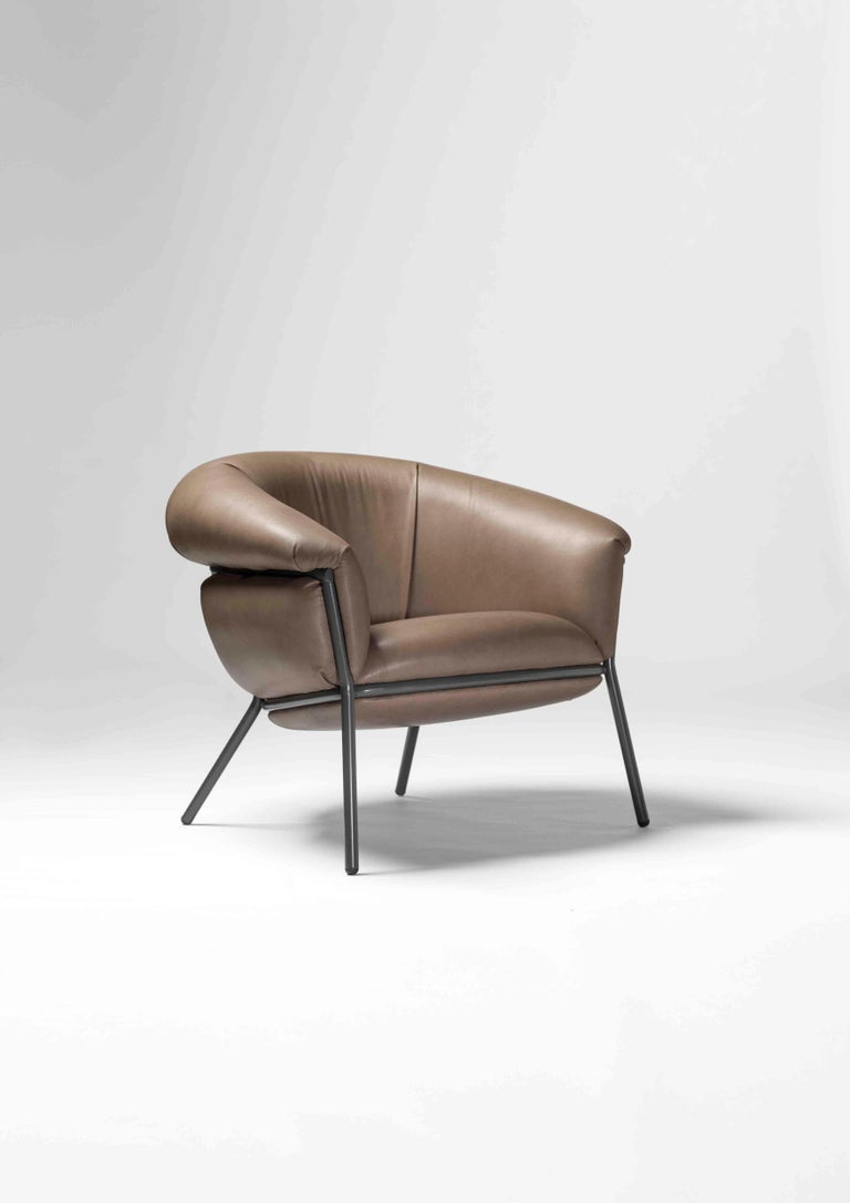 Modern Grasso Armchair and Footstool For Sale