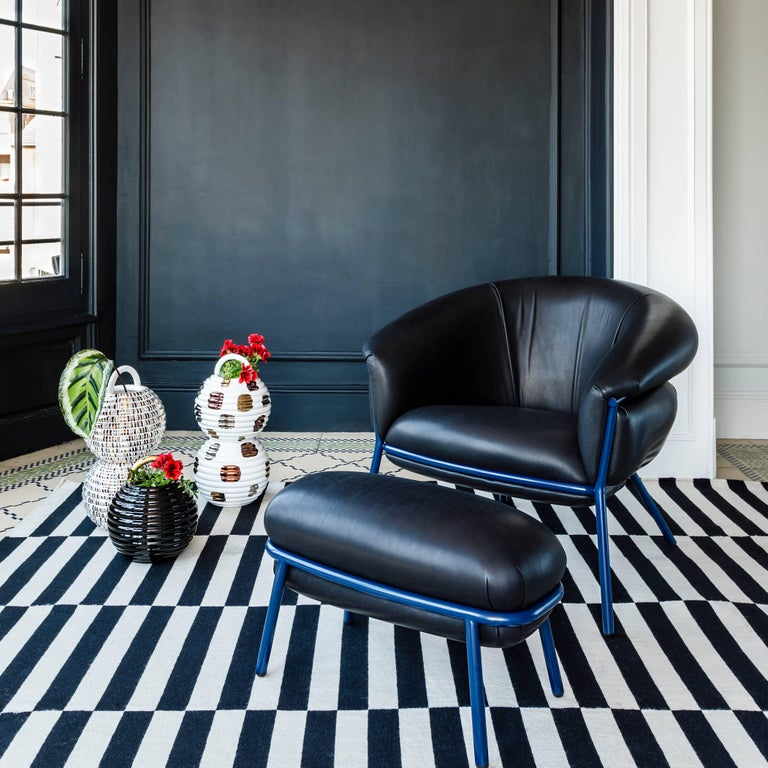 Lacquered Grasso Armchair by Stephen Burks, Black For Sale