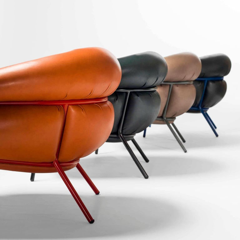 Lacquered Grasso Armchair by Stephen Burks, Orange For Sale