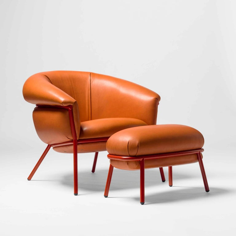 Leather Grasso Armchair by Stephen Burks, Orange