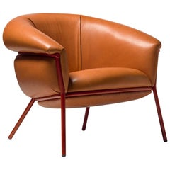 Grasso Armchair in Four Leather Options and Four Painted Tubular Steel Colorways