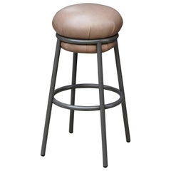 Grasso Contemporary Leather and Lacquered Metal Stool by Stephen Burks in Brown