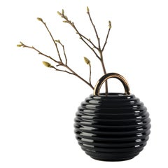 Grasso Lines Ceramic Vase in Black by BD Barcelona