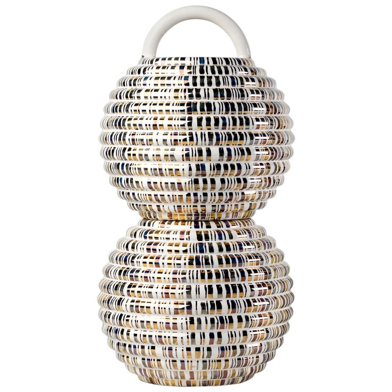 Grasso Lines Double Ceramic Vase in Gold by BD Barcelona For Sale