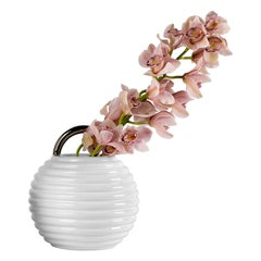 Grasso Plain Ceramic Vase in White by BD Barcelona