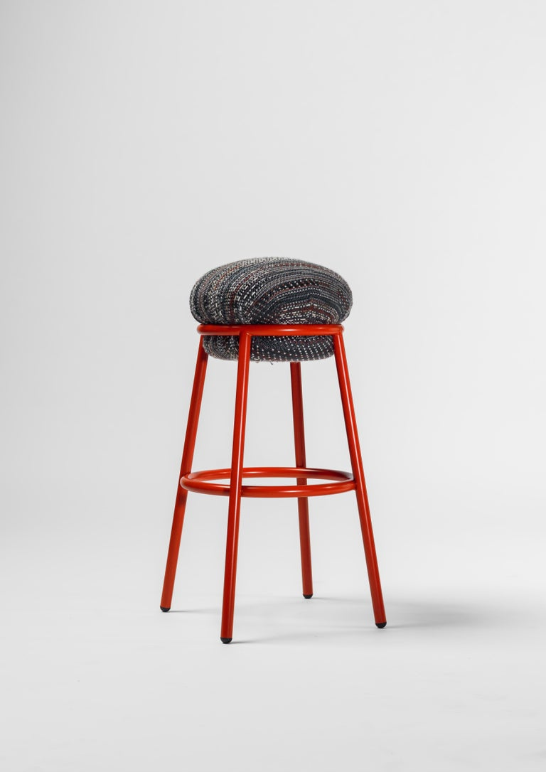 Modern Stool in green leather and painted steel frame by Stephen Burks For Sale