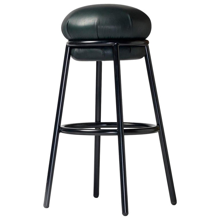 Stool in green leather and painted steel frame by Stephen Burks For Sale