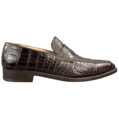 GRAVATI for WILKES BASHFORD Size 8.5 Brown Textured Crocodile Penny Loafers Shoe