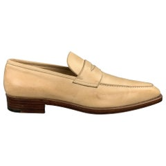 GRAVATI for WILKES BASHFORD Size 8.5 Natural Leather Penny Loafers Shoes