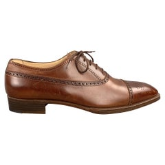 GRAVATI for WILKES BASHFORD Size 9.5 Brown Cap Toe Perforated Lace Up Shoes