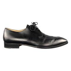 GRAVATI Size 12 Black Leather Apron Split Toe Lace Up