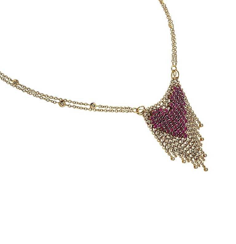 Modern Gravelli Italy Diamond and Pink Tourmaline Heart Necklace For Sale