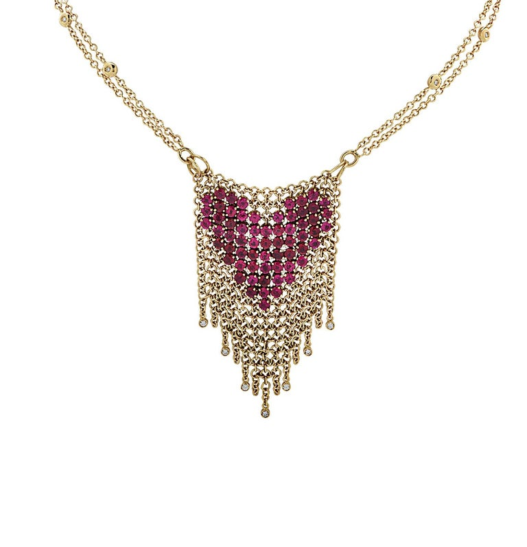 Round Cut Gravelli Italy Diamond and Pink Tourmaline Heart Necklace For Sale