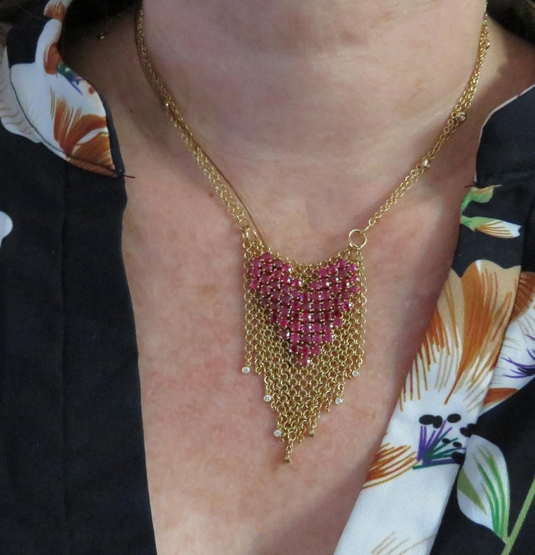 Gravelli Italy Diamond and Pink Tourmaline Heart Necklace In Excellent Condition For Sale In Miami, FL
