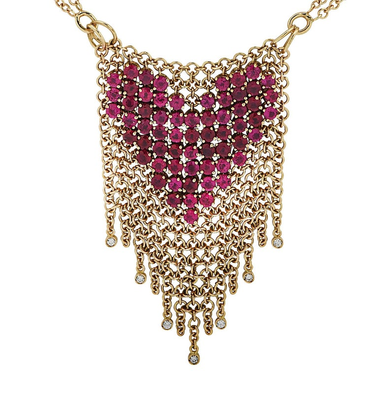 Women's Gravelli Italy Diamond and Pink Tourmaline Heart Necklace For Sale
