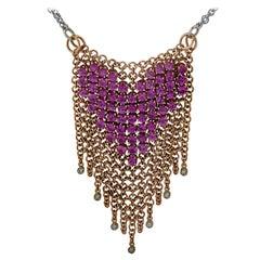 Garavelli Italy Diamond and Pink Tourmaline Heart Necklace