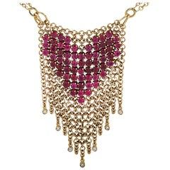 Gravelli Italy Diamond and Pink Tourmaline Heart Necklace