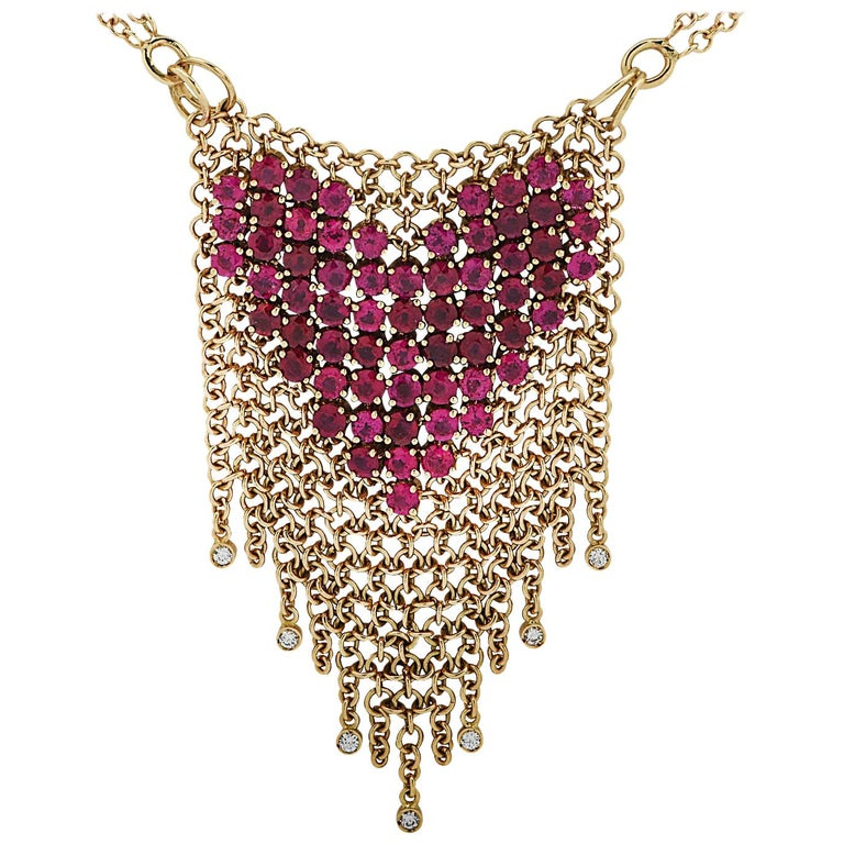 Gravelli Italy Diamond and Pink Tourmaline Heart Necklace For Sale