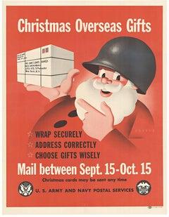 Original Christmas Overseas Gifts vintage World War II military vintage poster