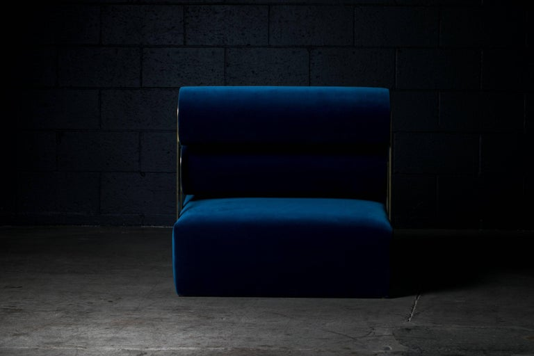 Hand-Crafted Gravity Lounge Chair in Indigo from the Qualia Collection by Azadeh Shladovsky For Sale