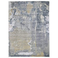 Gray Abstract Design Denser Weave Wool and Silk Hi-Low Pile Hand Knotted