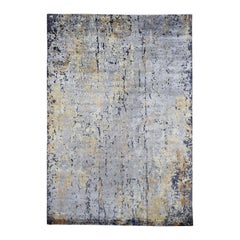Gray Abstract Design Wool and Silk Hi-Low Pile Hand Knotted Oriental Rug
