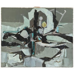 Gray Abstract Painting by Artist Planet, circa 1960, France