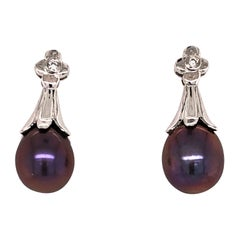 Gray Akoya Pearl White Gold Drop Earring with Diamond Accents