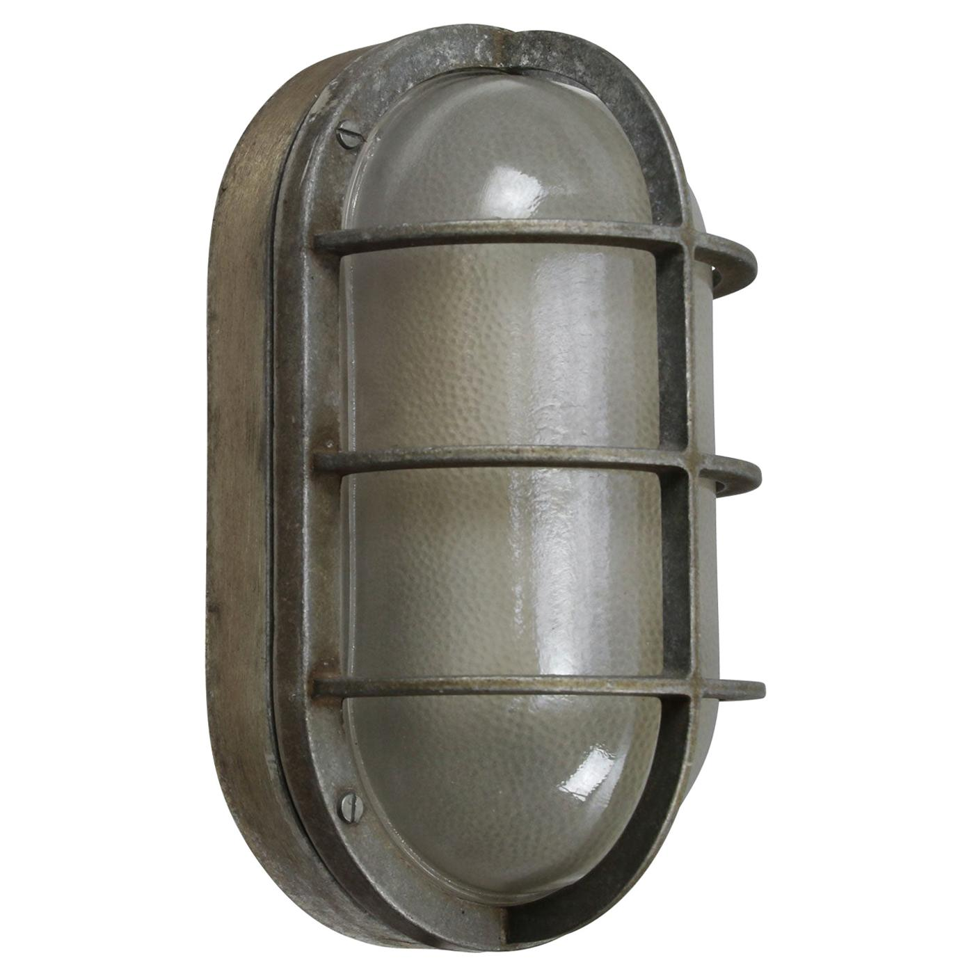 Gray Aluminum Vintage Industrial Frosted Glass Wall Lamps Scones