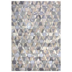 Gray and Caramel Selva Cowhide and Viscose Area Floor Rug