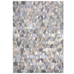 Gray and Caramel Selva Cowhide and Viscose Area Floor Rug Large