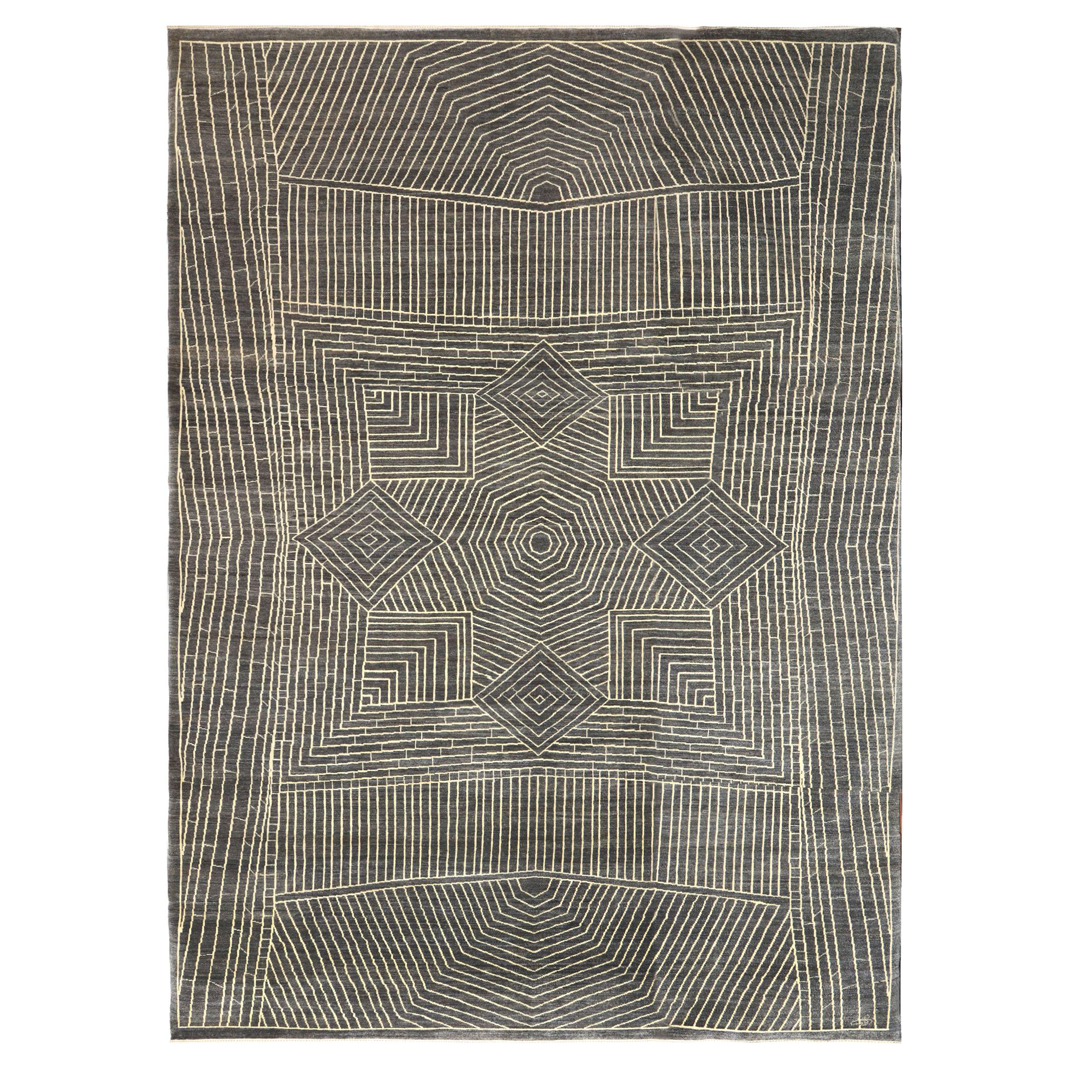 Gray and Cream Geometric and Architectural Contemporary Wool Area Rug