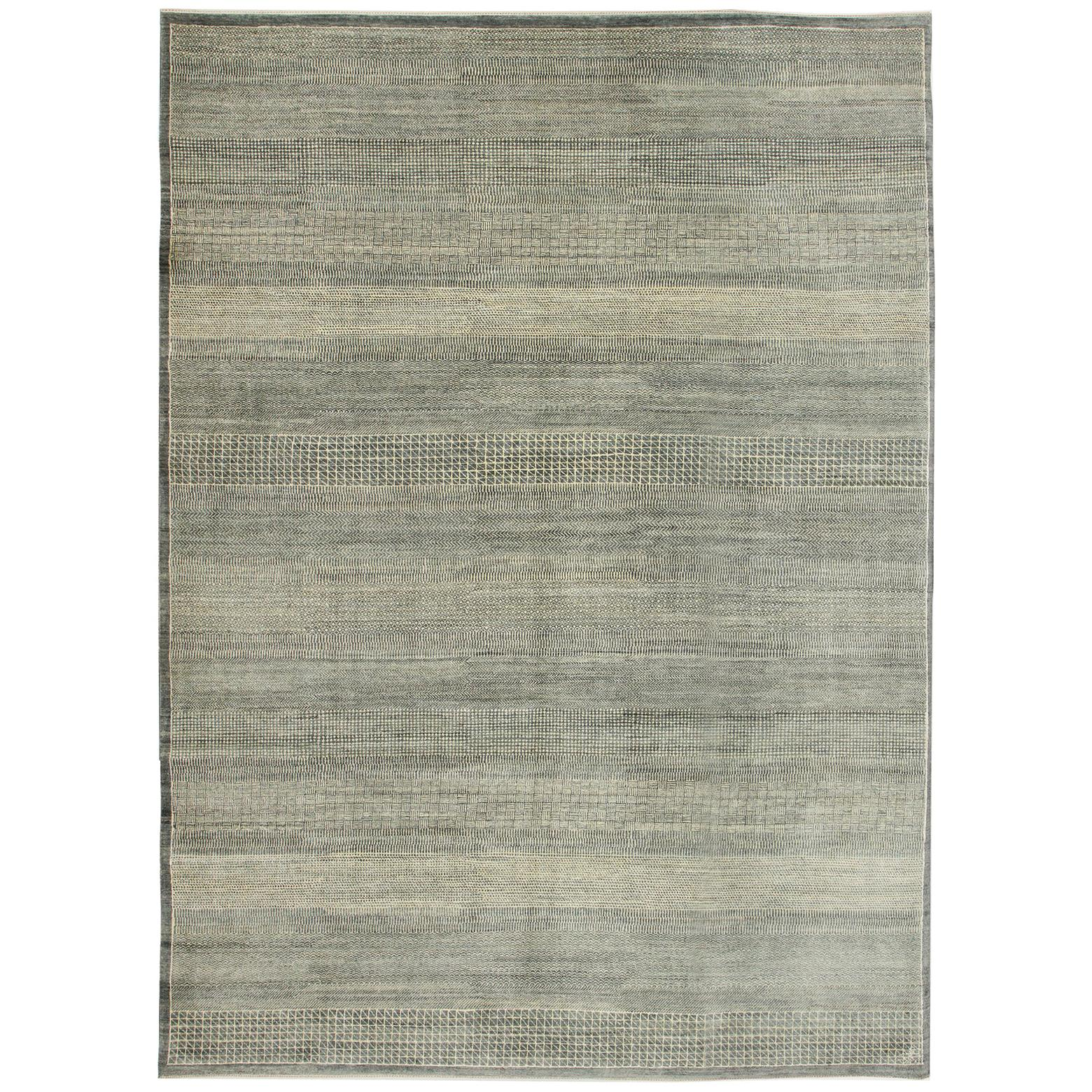 "Gray and Cream Minimalist Wool Persian Carpet, ""Rain"" Collection"