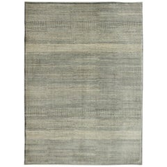 "Gray and Cream Minimalist Wool Persian Carpet, ""Rain"" Collection"