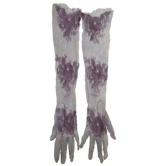 Gray and Purple Long Lace Gloves