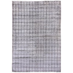 Gray and Silver Modern Hand Knotted Viscose Carpet