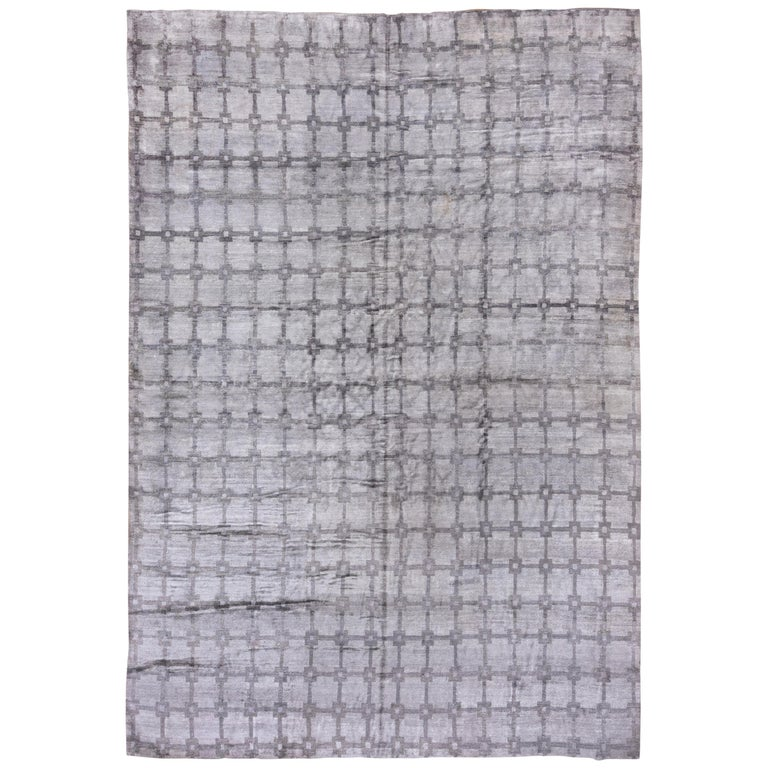 Gray and Silver Modern Hand Knotted Viscose Carpet For Sale