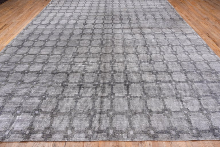 Indian Gray and Silver Modern Hand Knotted Viscose Carpet For Sale