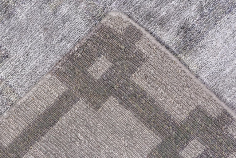 Contemporary Gray and Silver Modern Hand Knotted Viscose Carpet For Sale