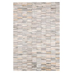 Gray and white customizable Olio Cowhide and Viscose Area Floor Rug Large